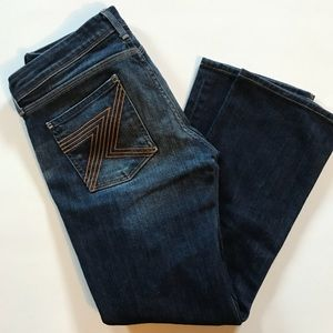 7 For All Mankind Flynt Wide Leg Gold Stitch Jeans